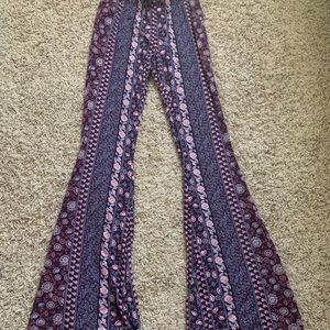 Pink and purple bell bottom pattern pants